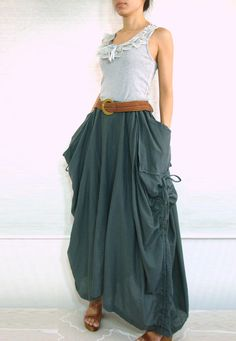 """I'd wear this ALL the time.  So comfortable and there are """"catch all"""" pockets  Dark Gray Cotton Maxi Skirt - SK001"""