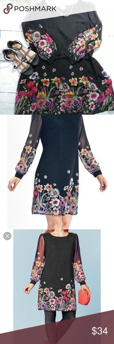 960f93c12b Ava Black Floral Border print chiffon tunic dress Preloved in excellent  condition,size tag is