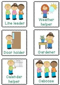 This pack of classroom job helper cards includes a total of 28 cards illustrating the following jobs: Line leader Door holder Calendar helper Weather helper Gardener Caboose Pet helper Trash helper Class recycler Light technician Table washer Table manager Preschool Classroom Jobs, Classroom Job Chart, Classroom Helpers, Classroom Routines, Classroom Rules, Preschool Themes, Special Education Classroom, Kindergarten, Preschool Helper Chart