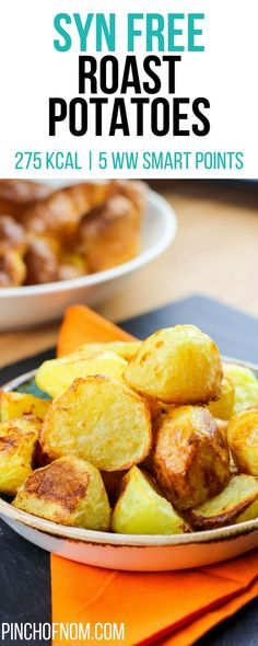 Roast Potatoes - Pinch Of Nom Slimming World Dinners, Slimming World Recipes Syn Free, Weight Watchers Smart Points, Weight Watchers Meals, Slimming World Roast Potatoes, Healthy Eating Recipes, Cooking Recipes, Healthy Food, Pinch Of Nom