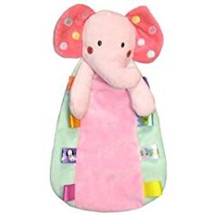 Taggies Rattle Head Elephant Plush Security Blanket - Pink