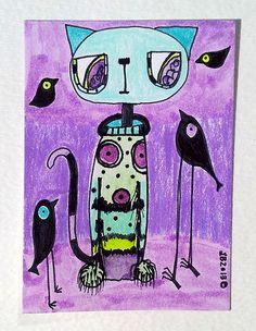 ACEO Original Big Eye Cat Black Crows Birds Juicy Secret Colored Pencils, Art Markers, Sharpies