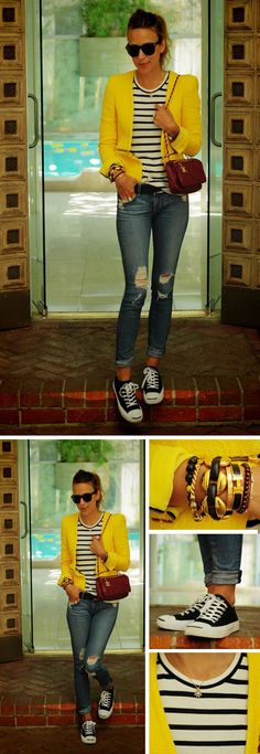 Striped top, yellow jacket, boyfriend jeans, and classic Converse sneakers