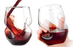 These cool new Aerating Stemless Wine Glasses not only have an innovative curvy design for a better grip, those same curves also help to mix in flavor-enhancing oxygen when you give the wine a swirl inside.