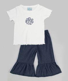 Love this White Monogram Tee & Denim Ruffle Pants - Toddler & Girls by Princess Linens on #zulily! #zulilyfinds