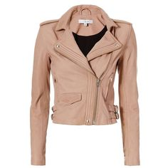 IRO Women's Hana Moto Leather Jacket ($1,250) ❤ liked on Polyvore featuring outerwear, jackets, casacos, coats, jaqueta, pink jacket, lined leather jacket, real leather jackets, zipper jacket and leather jackets
