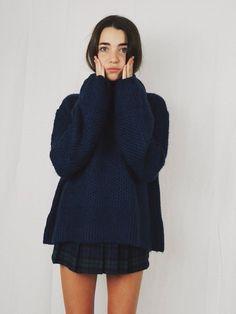 cozy knit & skirt #style #fashion