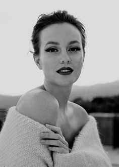 Beautiful Leighton Meester In Black And White Photograph Dark Burgundy Lipstick And Off The Shoulder Cream Wool Sweater
