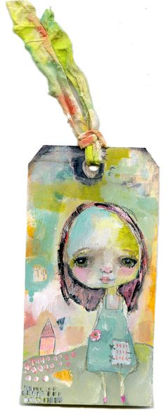 I am Home art tag - original 3x6