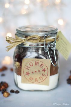 Cookie mix in the jar 21st, Place Card Holders, Jar, Cookies, Christmas, Food, Yule, Biscuits, Navidad