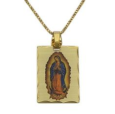 Rosemarie Collections Womens Our Lady of Guadalupe Rectangle Portrait Pendant Necklace 125 Charm Gold ** Visit the image link more details.