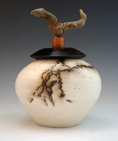 Horsehair Raku with driftwood knob | Cathie Cantara | Flickr