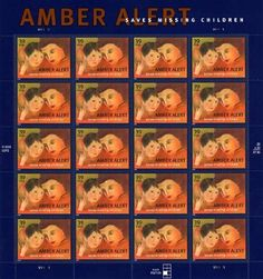 Amber Alert 20 x 39 Cent US Postage Stamps Scot #4031 by U.S. Mail. $14.95. One (1) full sheet of the  Amber Alert 20 x 39 Cent US Postage Stamps Scot #4031  In mint condition.      AMBER Alert postage stamp issued during National Missing Children's Day  WASHINGTON, DC - The U.S. Postal Service continues its tradition of drawing attention to important social causes by issuing the AMBER Alert stamp to honor a program dedicated to the rapid recovery of abducted chi...