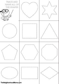 If you are a homeschooler or preschool teacher looking for great printables for teaching shapes, look no further! These shapes coloring page printables are perfect for your little student. Shape Worksheets For Preschool, Shape Tracing Worksheets, Shapes Worksheet Kindergarten, Preschool Shapes, Free Preschool, Diy Learning Books, Kids Learning, Shape Coloring Pages, Printable Shapes