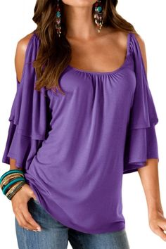 706b1ce0062125 US$ 7.71-Purple Layered Sleeves Ruffled Off Shoulder Blouse Dropshipping  Tunic Blouse, Shirt