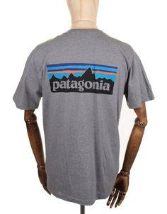 b68fe7af Patagonia P-6 Logo Tee - Gravel Heather Patagonia, Logos, Tees, Mens