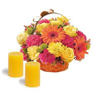 Flower basket with candle