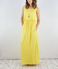 Another great find on #zulily! Yellow Blouson Maxi Dress #zulilyfinds