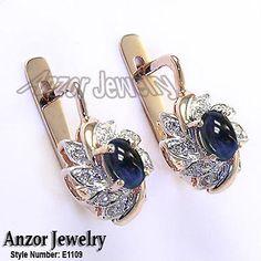 32 Ct Diamond 2 0 Ct Cabochon Sapphire Russian Style Earrings 14k Rose Gold | eBay