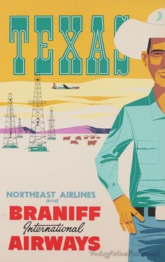 Vintage travel poster - USA Texas