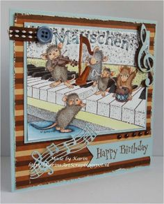 House Mouse Lets make some music by karin van eijk - Cards and Paper Crafts at Splitcoaststampers House Mouse Stamps, Birthday Thank You Cards, Stamping Up Cards, Cute Creatures, Greeting Cards Handmade, Paper Crafting, Mousse, Cardmaking, Card Stock