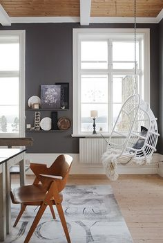 """I really like the hanging chair. Would look great at the living room. """"Hanging chair (Ylva's home in sweden)"""" Sweet Home, Living Room Hammock, Hanging Furniture, Hanging Chairs, Ceiling Hanging, Hanging Basket, Hanging Beds, Furniture Decor, Modern Furniture"""