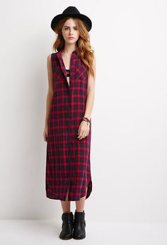 Longline Plaid Shirt Dress - NEW ARRIVALS - 2000054173 - Forever 21 UK