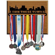 Race Medal Hanger I Run These Towns Wood Mounted MedalART | GoneForaRun.com
