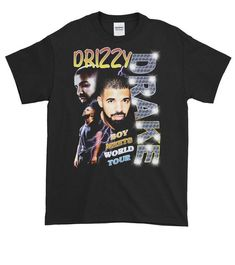 About Drizzy World Tour T-shirt REW.This T-shirt is Made To Order, we print one by one so we can control the quality. 90s Shirts, Tour T Shirts, Cool Shirts, Casual Shirts, Vintage T-shirts, Vintage Tees, Camisa Vintage, Shirt Style, Graphic Tees