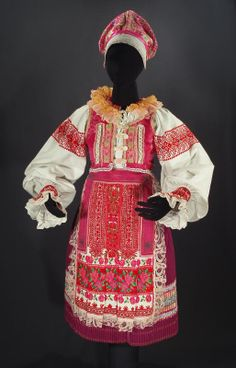 Complete Woman's Slovak Folk Costume from Helpa, Slovakia - embroidered blouse | pleated skirt | pink vest | bonnet | foral apron