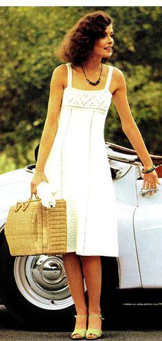 "Vintage 70s Pattern CROCHET Summer ""MINI"" Dress  - PDF Pattern."