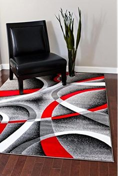 2305 Gray Black Red White Swirls Modern Abstract Area Rug Carpet By Persian  Rugs Good Ideas