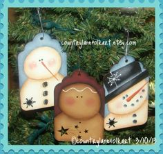 Snowman and Ginger Tag Ornaments Pattern