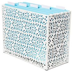 So pretty and you can put any color folders in that you want to match your decor from The Container Store!
