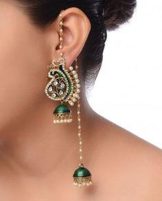 #Exclusivelyin, #IndianEthnicWear, #IndianWear, #Fashion, Peacock & Jhumki Earrings in Kashmiri Style