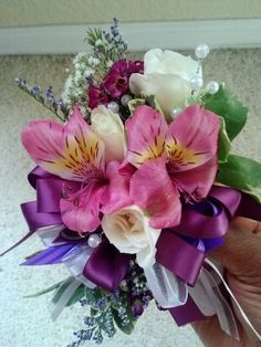 Mixed flower wristlet - in shades of pinks and purples