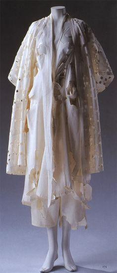 Yohji Yamamoto, 1983 S/S White cotton cut-work jacket, dress and pants.