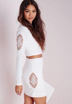 Missguided - Lace Insert Panel Mini Skirt White White Lace Skirt e7270446e