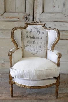 Antique French Louis XVI Style Wing Chair in Antique Grain Sack Upholstery from Full Bloom Cottage French Furniture, Shabby Chic Furniture, Antique Furniture, Furniture Design, Modern Furniture, Rustic Furniture, Furniture Decor, Furniture Logo, Coaster Furniture