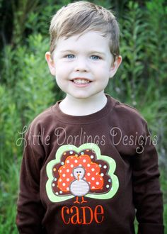 Boys Appliqued and Monogrammed Turkey Shirt by LilDarlingsDesigns, $23.00