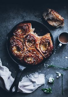 Butterkaka - cinnamon bun cake with almond paste and vanilla...