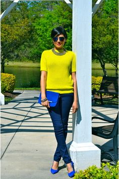 Discover this look wearing Chartreuse Club Monaco Sweaters, Navy Zara Jeans, Blue Minelli Bags - Chartreuse & Cobalt by alpa_r styled for Casual, Everyday Winter Pullover Outfits, Winter Outfits, Classy Outfits, Cool Outfits, Chartreuse Dress, Color Combinations For Clothes, Color Combos, Work Fashion, Women's Fashion