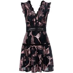 Rebecca Taylor - Metallic Floral Mini Dress (39,700 PHP) ❤ liked on Polyvore featuring dresses, mini dress, floral print dress, short fit and flare dress, ruffle dress and flutter-sleeve dress