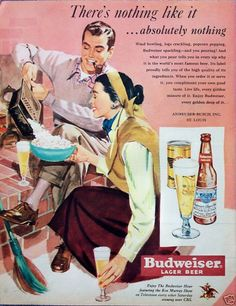 Budweiser Beer Couple Brick Fireplace Popcorn (1950). (I needed an image so I could pin this site. it's a vintage ad browser site)