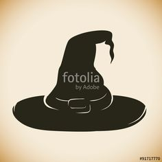 Vector: Witch Hat Silhouette, Vector Illustration