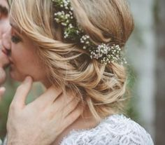 baby's breath wedding crown.