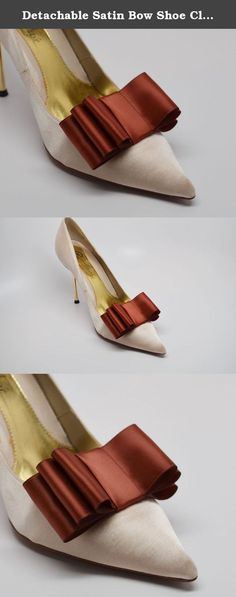 Detachable Satin Bow Shoe Clips Front Brown Set of 2. Beautiful and very chic satin ribbon bow to add some glamour to any basic pair of shoes. They are removable and won't damage your shoes. It can be attach at front or at the back of the shoe. The listing is only for a set of two ribbon bows the shoes are only to showcase the clips.
