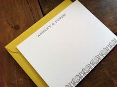 Oh So Beautiful Paper: Ashley + Peter's Yellow and Gray Patterned Letterpress Wedding Invitations