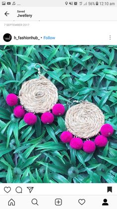 Silk Thread Earrings, Fabric Earrings, Thread Jewellery, Textile Jewelry, Fabric Jewelry, Diy Earrings, Diy Necklace, Earrings Handmade, Beaded Jewelry