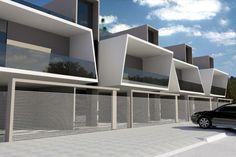 projetos modernos: sobrados geminados com terraço House Front Design, Small House Design, Modern House Design, Conceptual Design Architecture, Space Architecture, Villa Design, Facade Design, Townhouse Exterior, Small Modern Home